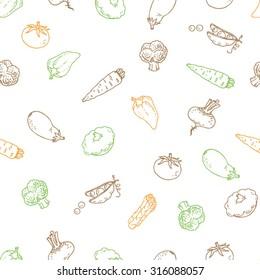 Seamless outline vegetable pattern