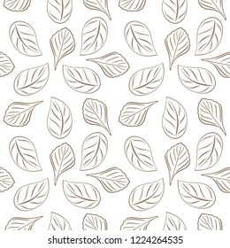 Seamless outlined leafy background for wrap design. Vector