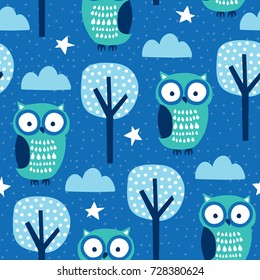 seamless owls in the forest pattern vector illustration