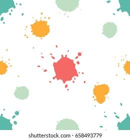 Seamless paint splatter pattern. Trendy retro colors. Vector illustration.