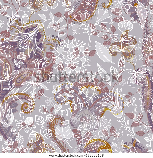 Seamless Paisley background, floral pattern. Colorful ornamental backdrop. Color wallpaper with decorative flowers
