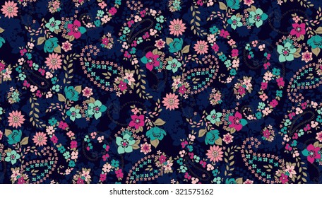 Seamless Paisley background with flower. Elegant Hand Drawn vector pattern.