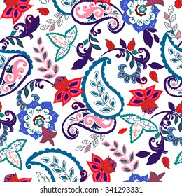Seamless Paisley background.Colorful flowers and leafs on white background. Vector illustration.