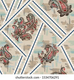 seamless paisley with bandanna on texture background