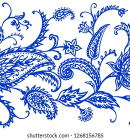 Seamless paisley border in blue, vector illustration, hand drawing. East ornament, buta.