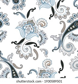 seamless paisley design, ethnic oriental pattern
