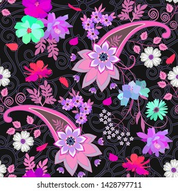 Seamless paisley ornament with mandala and bouquets of garden flowers on ornate lace background. Print for fabric.