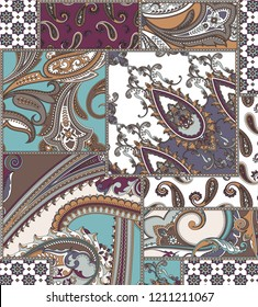 seamless paisley and patchwork pattern