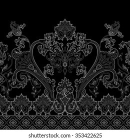 Seamless paisley pattern, decorative border for textile, wrapping, decor. Bohemian design