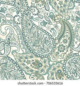 Seamless Paisley pattern. Floral vector illustration in indian style