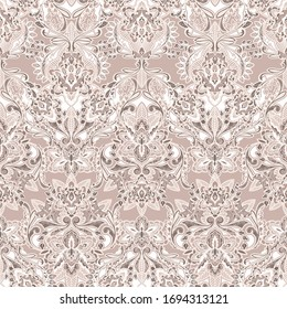 Seamless paisley pattern on vector. Traditional seamless ornamental background