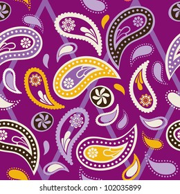 Seamless paisley pattern, purple color variation. Pattern color swatch included