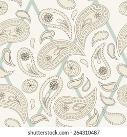 Seamless paisley pattern, thin lines variation. Pattern color swatch included