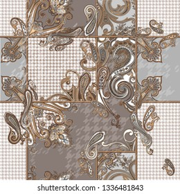seamless paisley pattern witn pied-de-poule pattern. pattern for fabrics or textile design