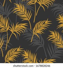Seamless palm leaf pattern grey and orange