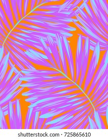 seamless palm pattern,vector design. neon color palms.