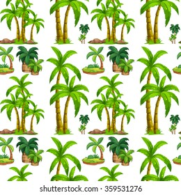 Seamless palm trees and island illustration