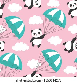 Seamless Panda Pattern Background, Happy cute panda flying in the sky between colorful parachute and clouds, Cartoon Panda Bears Vector illustration for Kids