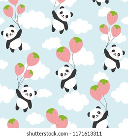 Seamless Panda Pattern Background, Happy cute panda flying with strawberry balloon in the sky between colorful balloons, Cartoon Panda Bears Vector illustration for Kids