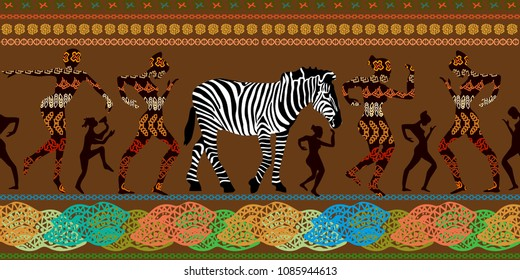 Seamless panoramic vector border with dancing aborigens and zebra jn brown background. Trendy ethnic design witn African art motifs for textile, cards, covers.