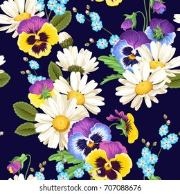 Seamless pansies and camomiles