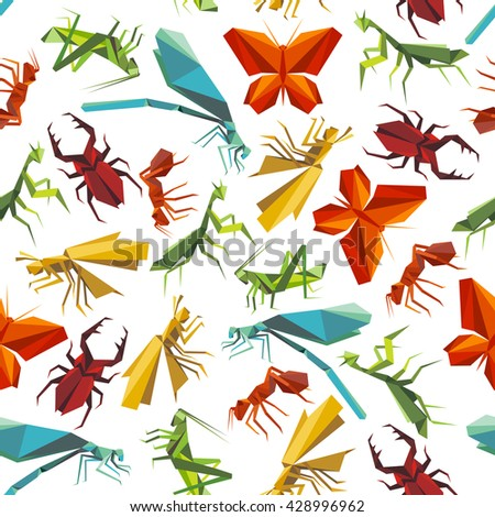 Seamless Paper Origami Insects Pattern Background Stock Vector
