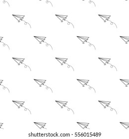 Seamless paper plane pattern on white background