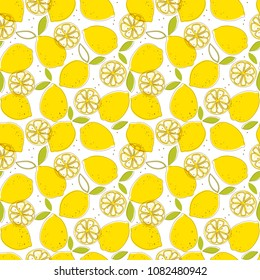 A seamless papern with juicy yellow lemons, green leaves and seeds. Excellent illustration for printing on fabric, paper, wallpaper, clothing and other surfaces.