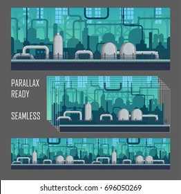 Seamless parallax ready industrial postapocalyptic game environment illustration, pipes and machinery siloettes, factory stem style panorama.