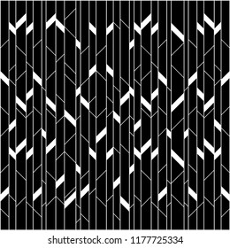 Seamless Parallelogram random pattern vector. White on black background. Design print for textile, fabric, wallpaper, background. Set 2