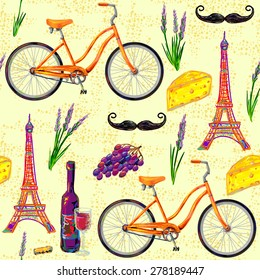 Seamless Paris French Pattern With Eiffel Tower Bicycle Cheese Mustache Wine Glass