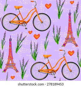 Фотообои Seamless Paris French pattern with Eiffel Tower, bicycle, lavender flowers. Perfect for wallpapers, pattern fills, web page backgrounds, surface textures, textile