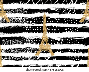 Seamless Paris pattern with Eiffel Tower. French vector background. Perfect for wallpapers, web page backgrounds, surface textures, textile, invitations, clothing, cards, designs products, accessories