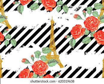 Seamless Paris pattern with Eiffel Tower and roses flowers. French vector background. Perfect for wallpapers, web page, surface textures, textile, invitations, clothing, cards, designs products