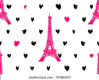 Seamless Paris pattern with Eiffel Tower and hearts. French vector background. Perfect for wallpapers, web page background, surface texture, textile, invitation, clothing, designs product, accessories