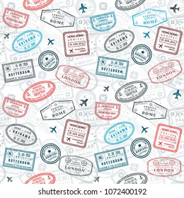 Seamless passport stamps vector background - travel stamp pattern (fictitious stamps).