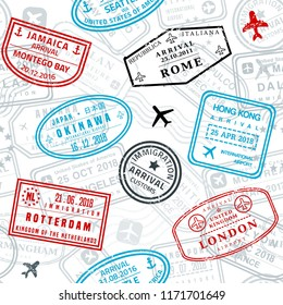 Seamless passport stamps vector background - travel stamp texture (fictitious stamps).