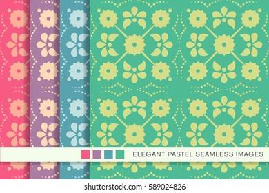 Seamless pastel background set cross flower dot line