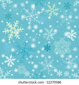 Seamless pastel christmas pattern with  handwork snowflakes (vector)