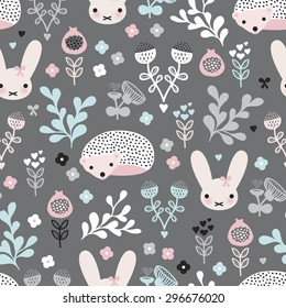 Seamless pastel girls spring hedgehog bunny and flower blossom garden illustration background pattern in vector