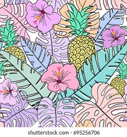 seamless pastel pattern with tropical leafs, doodle vector