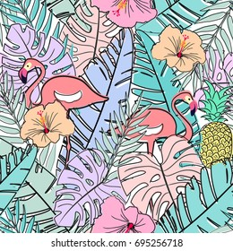 seamless pastel pattern with tropical leafs, flamingo birds , doodle vector