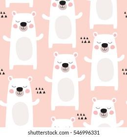 seamless pastel polar bear pattern vector illustration