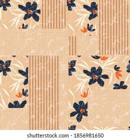 seamless  patchwork flower pattern on orange