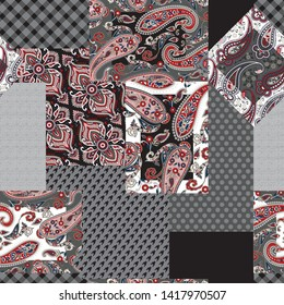 seamless patchwork paisley pattern on grey