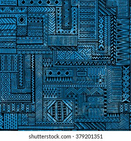 Seamless patchwork pattern. Black geometric lines on blue watercolor background. Vector illustration. Handmade.