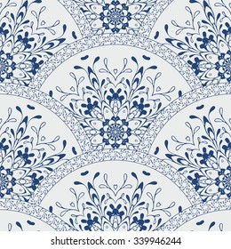 Seamless patchwork pattern of  floral flower tile circles. For wallpaper pattern, surface textures ornament, fabric textile pattern. Indian Islam mexican ethnic round style. White indigo blue vector