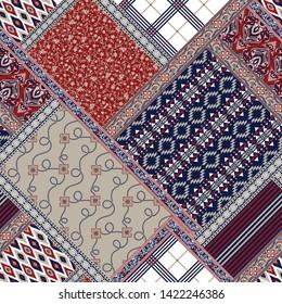 seamless patchwork  pattern on navy