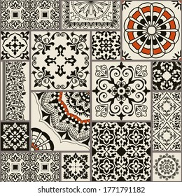 Seamless patchwork tile with Islam, Arabic, Indian, Ottoman motifs. Majolica pottery tile. Portuguese and Spain decor. Ceramic tile in talavera style. Vector illustration