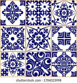 Seamless patchwork tile. Majolica pottery tile. Portuguese and Spain decor. Ceramic tile in talavera style. Vector illustration.  Abstract seamless patchwork pattern with geometric and floral ornament
